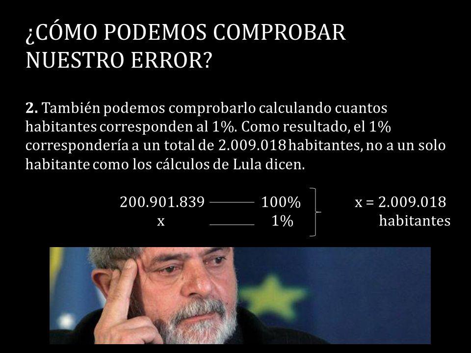 ¿CÓMO PODEMOS COMPROBAR NUESTRO ERROR? 2. También podemos comprobarlo calculando cuantos habitantes corresponden al 1%. Como resultado, el 1% correspo
