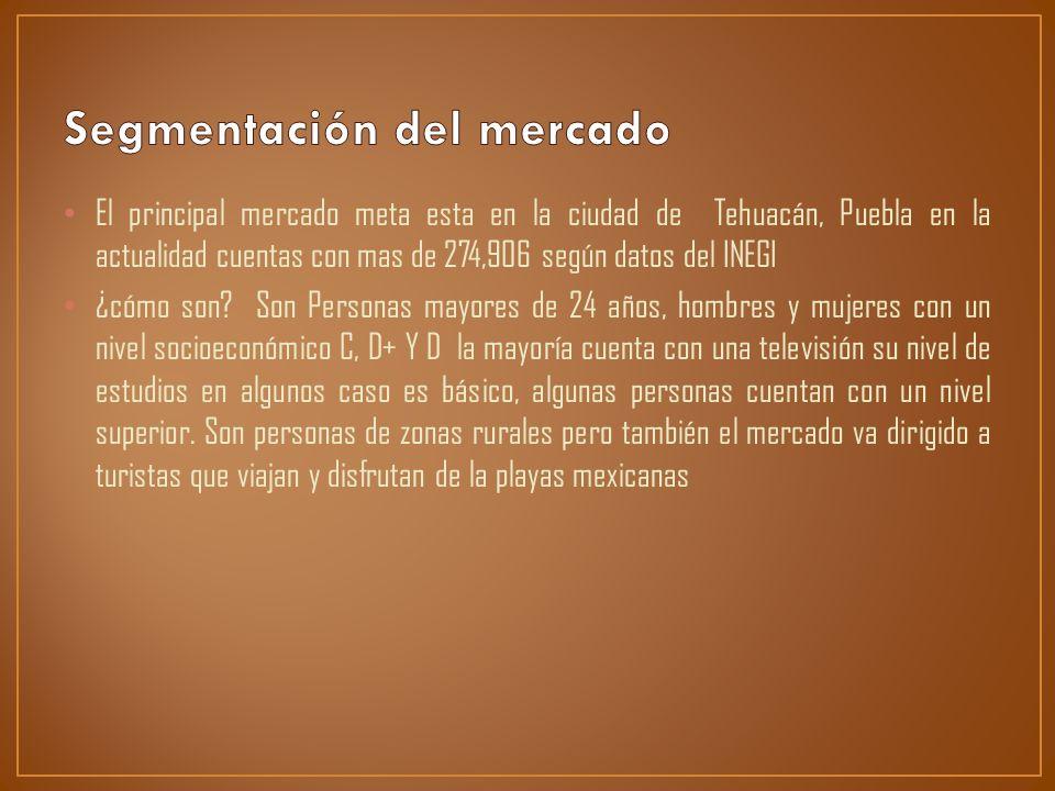 El principal mercado meta esta en la ciudad de Tehuacán, Puebla en la actualidad cuentas con mas de 274,906 según datos del INEGI ¿cómo son? Son Perso