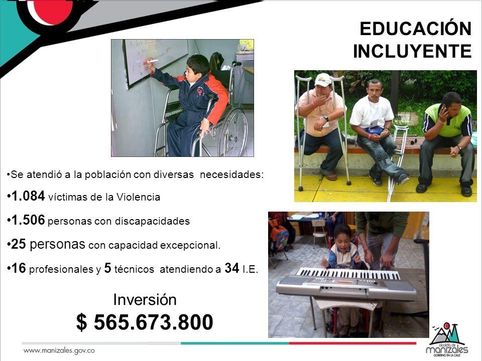 EDUCACIÓN INCLUYENTE Se atendió a la población con diversas necesidades: 1.084 víctimas de la Violencia 1.506 personas con discapacidades 25 personas