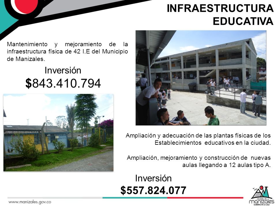 INFRAESTRUCTURA EDUCATIVA Mantenimiento y mejoramiento de la infraestructura física de 42 I.E del Municipio de Manizales. Ampliación y adecuación de l