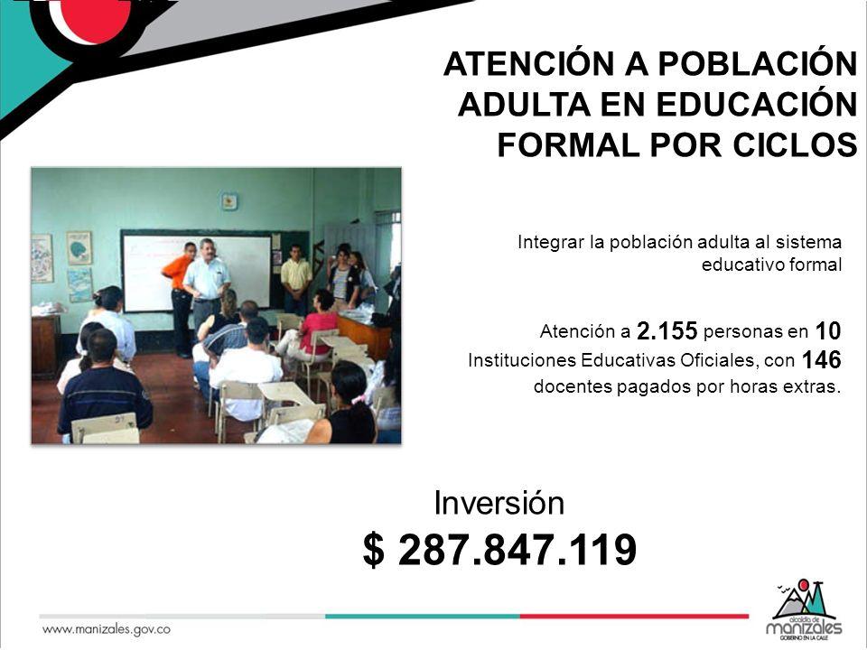 ATENCIÓN A POBLACIÓN ADULTA EN EDUCACIÓN FORMAL POR CICLOS Integrar la población adulta al sistema educativo formal Atención a 2.155 personas en 10 In
