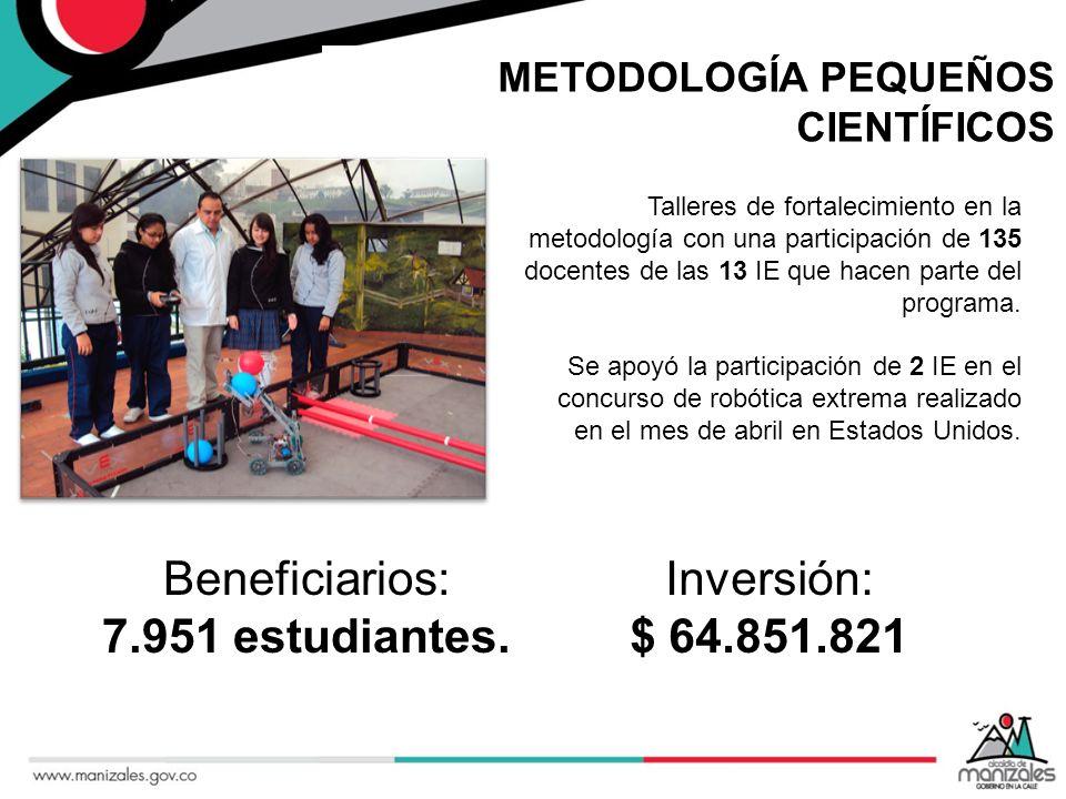 METODOLOGÍA PEQUEÑOS CIENTÍFICOS Talleres de fortalecimiento en la metodología con una participación de 135 docentes de las 13 IE que hacen parte del