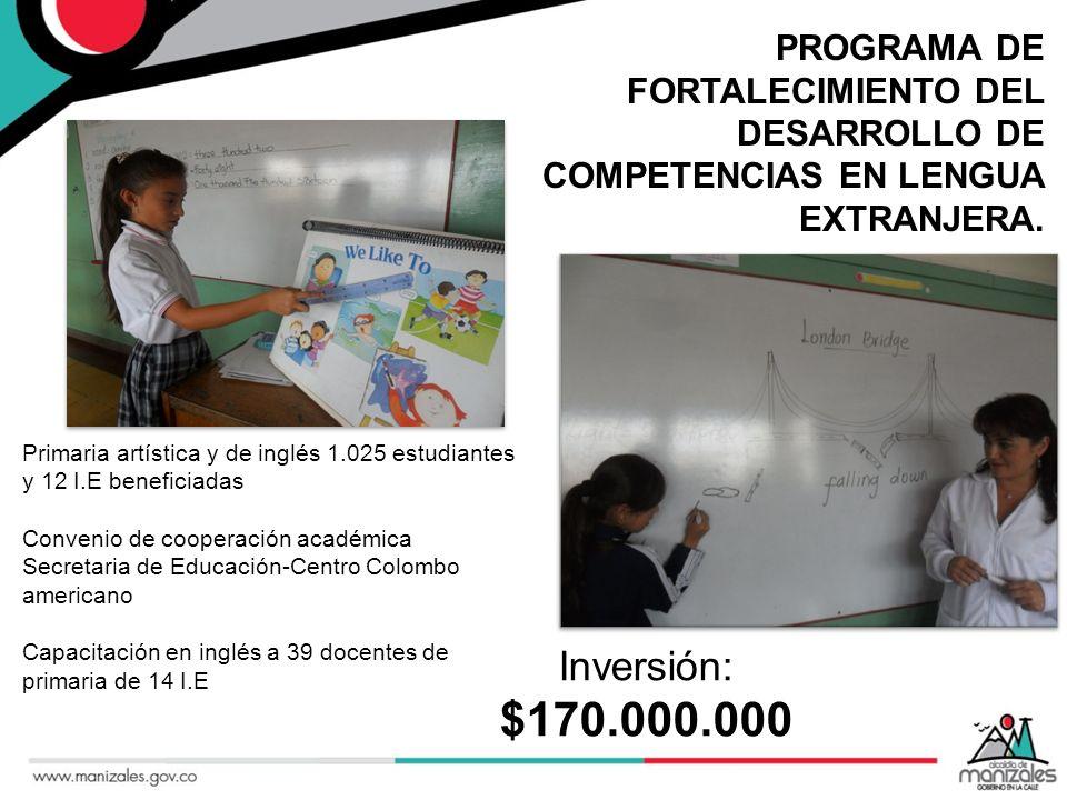 PROGRAMA DE FORTALECIMIENTO DEL DESARROLLO DE COMPETENCIAS EN LENGUA EXTRANJERA. Primaria artística y de inglés 1.025 estudiantes y 12 I.E beneficiada