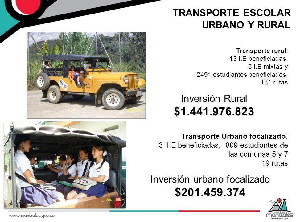 TRANSPORTE ESCOLAR URBANO Y RURAL Transporte rural: 13 I.E beneficiadas, 6 I.E mixtas y 2491 estudiantes beneficiados. 181 rutas Inversión urbano foca
