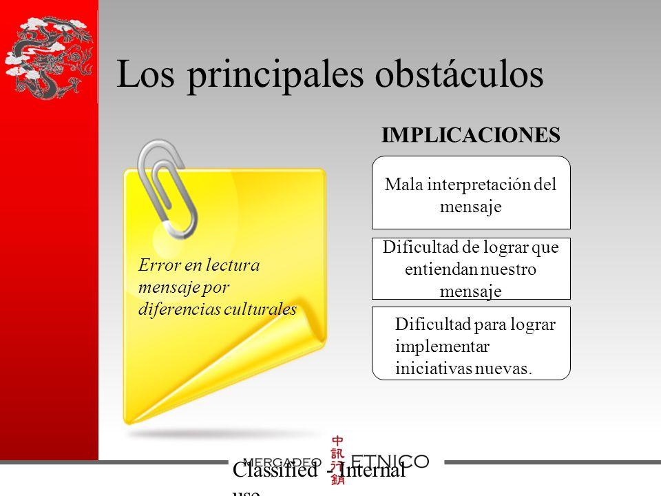 Los principales obstáculos Classified - Internal use Mala interpretación del mensaje Dificultad de lograr que entiendan nuestro mensaje Dificultad para lograr implementar iniciativas nuevas.
