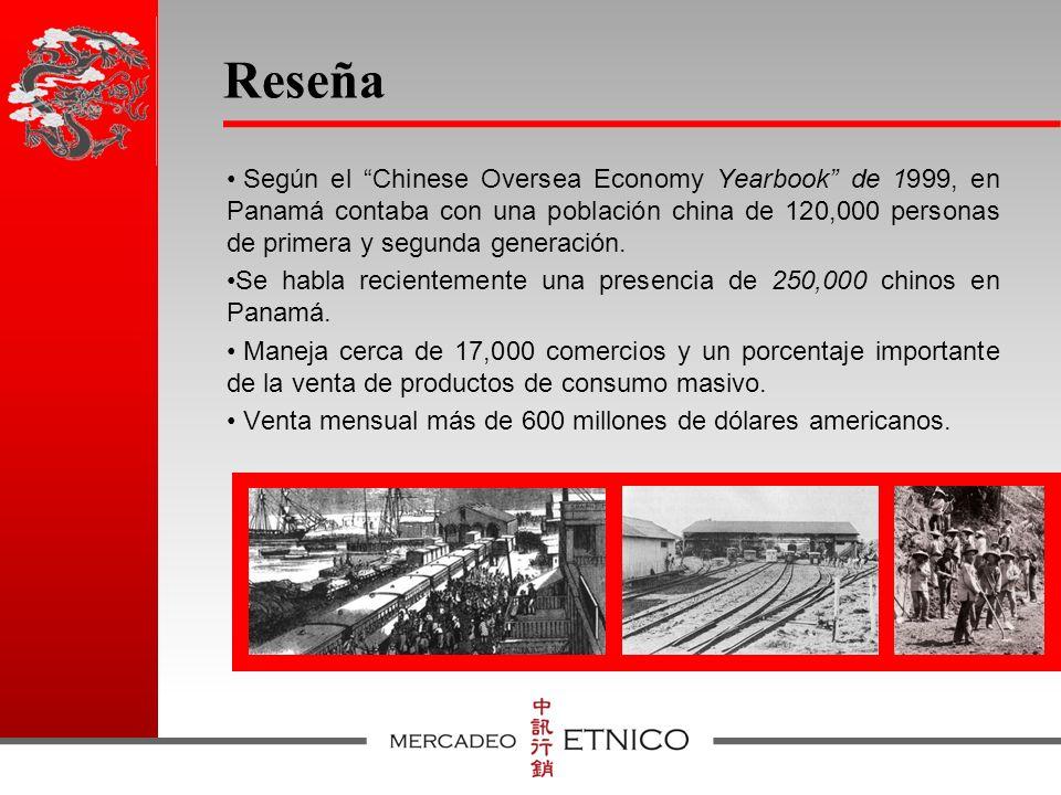 Reseña Según el Chinese Oversea Economy Yearbook de 1999, en Panamá contaba con una población china de 120,000 personas de primera y segunda generación.