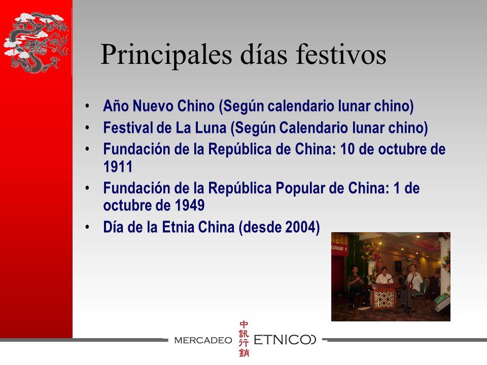 Principales días festivos Año Nuevo Chino (Según calendario lunar chino) Festival de La Luna (Según Calendario lunar chino) Fundación de la República de China: 10 de octubre de 1911 Fundación de la República Popular de China: 1 de octubre de 1949 Día de la Etnia China (desde 2004)