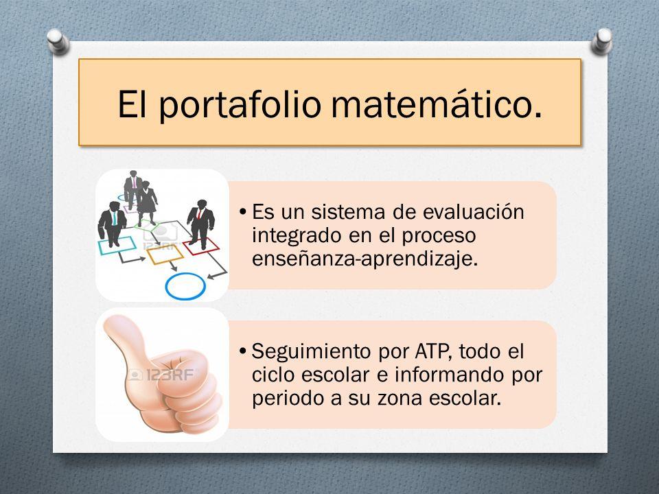 El portafolio matemático. Es un sistema de evaluación integrado en el proceso enseñanza-aprendizaje. Seguimiento por ATP, todo el ciclo escolar e info