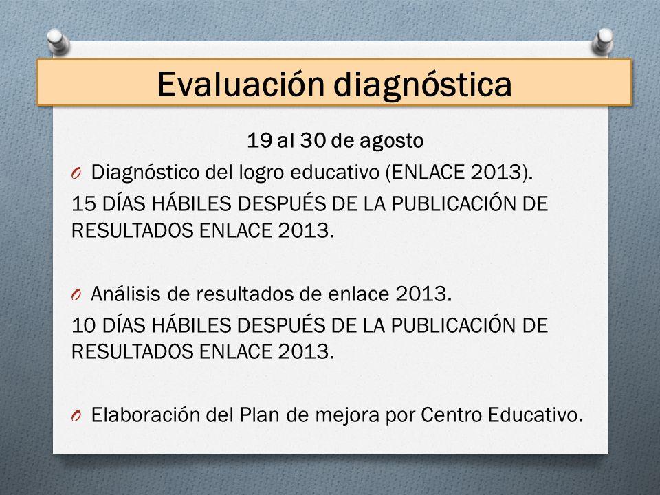 Evaluación diagnóstica 19 al 30 de agosto O Diagnóstico del logro educativo (ENLACE 2013). 15 DÍAS HÁBILES DESPUÉS DE LA PUBLICACIÓN DE RESULTADOS ENL