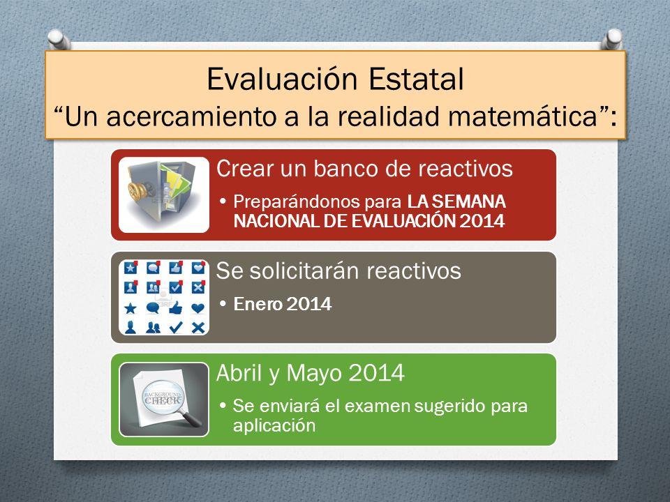 Evaluación Estatal Un acercamiento a la realidad matemática: Crear un banco de reactivos Preparándonos para LA SEMANA NACIONAL DE EVALUACIÓN 2014 Se s