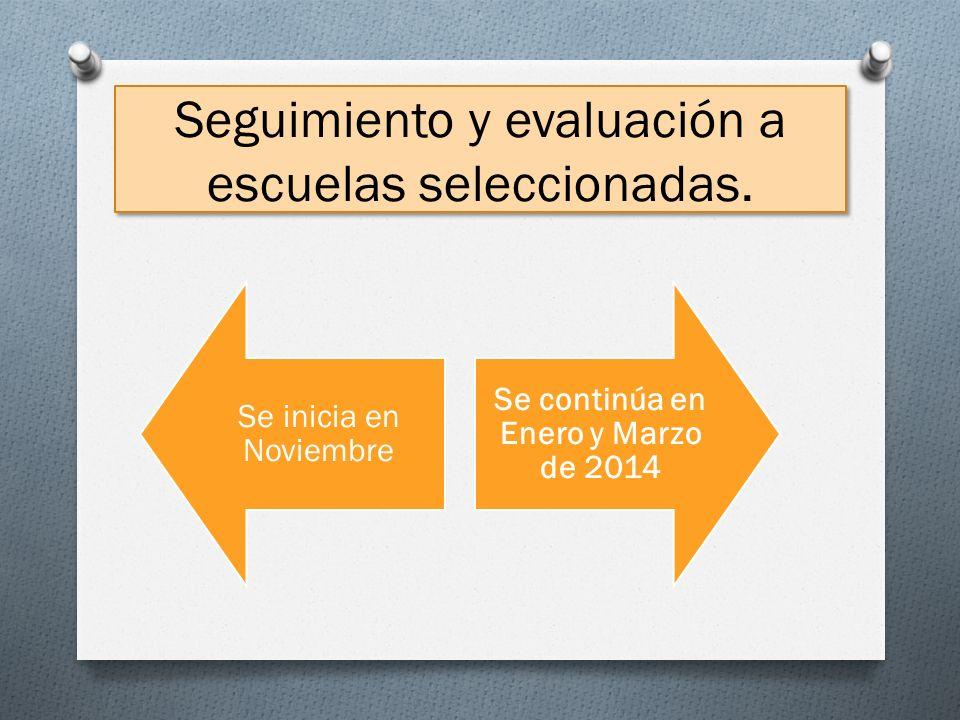 Seguimiento y evaluación a escuelas seleccionadas. Se inicia en Noviembre Se continúa en Enero y Marzo de 2014