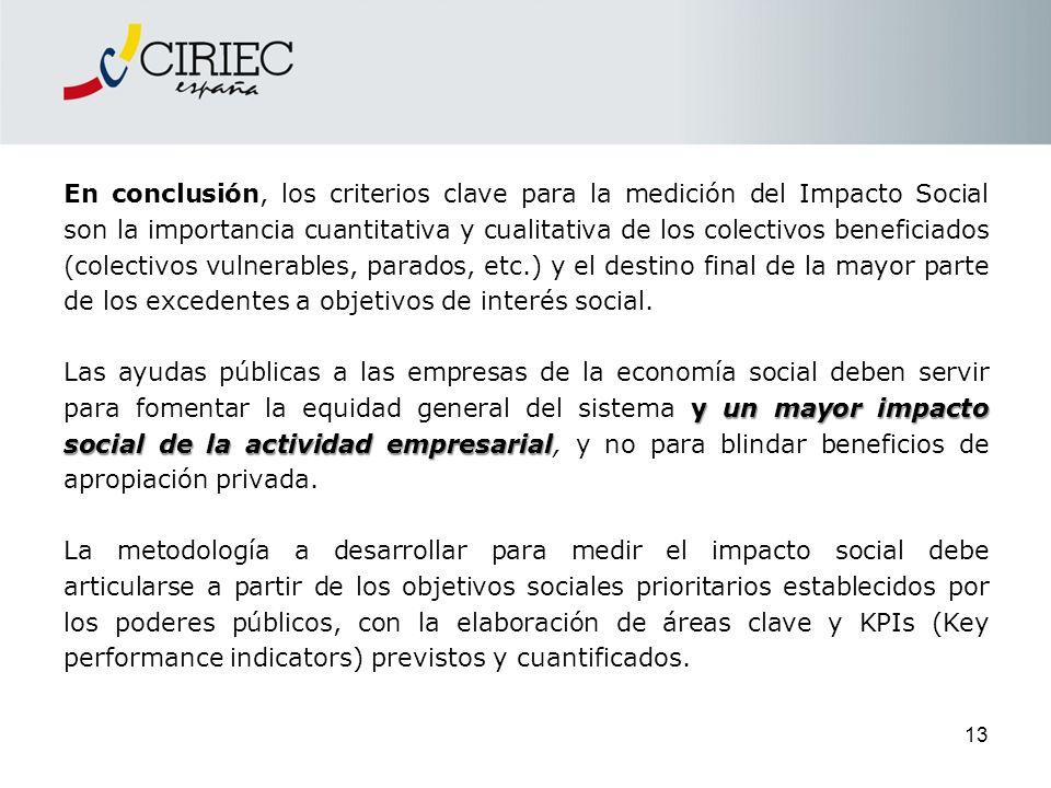 En conclusión, los criterios clave para la medición del Impacto Social son la importancia cuantitativa y cualitativa de los colectivos beneficiados (c