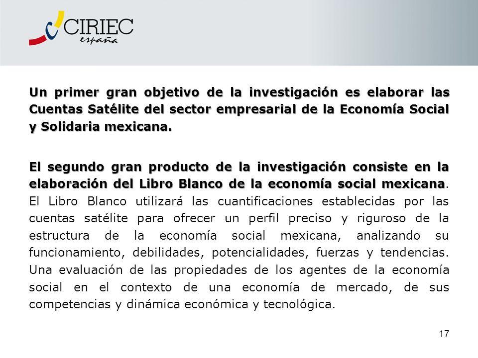 Un primer gran objetivo de la investigación es elaborar las Cuentas Satélite del sector empresarial de la Economía Social y Solidaria mexicana. El seg