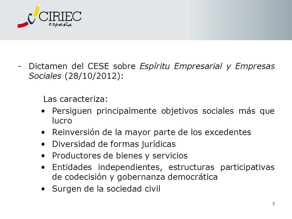 -Dictamen del CESE sobre Espíritu Empresarial y Empresas Sociales (28/10/2012): Las caracteriza: Persiguen principalmente objetivos sociales más que l