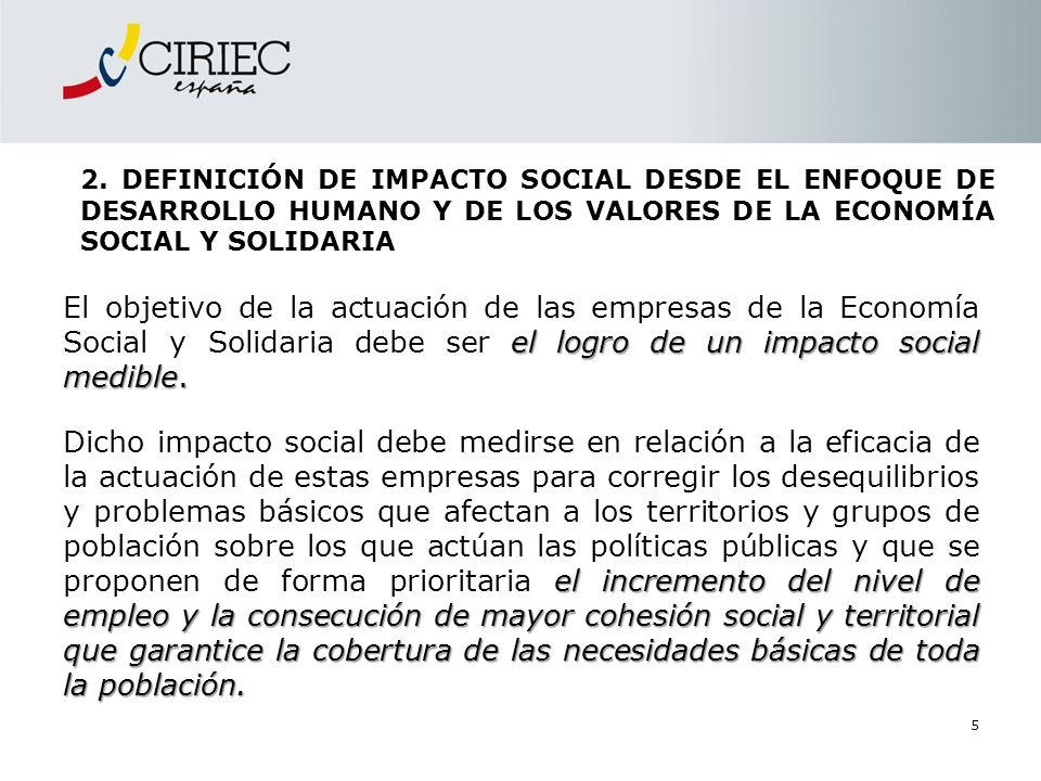 5 2. DEFINICIÓN DE IMPACTO SOCIAL DESDE EL ENFOQUE DE DESARROLLO HUMANO Y DE LOS VALORES DE LA ECONOMÍA SOCIAL Y SOLIDARIA el logro de un impacto soci
