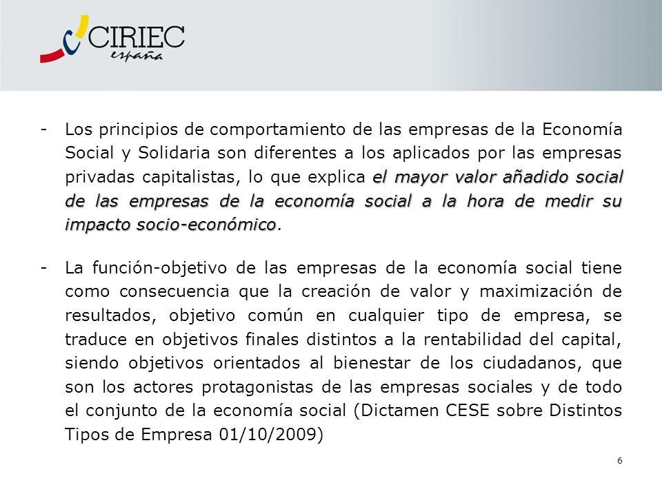 elmayor valor añadido social de las empresas de la economía social a la hora de medir su impacto socio-económico -Los principios de comportamiento de