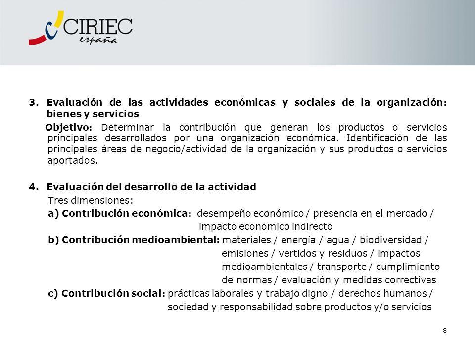 8 3.Evaluación de las actividades económicas y sociales de la organización: bienes y servicios Objetivo: Determinar la contribución que generan los pr