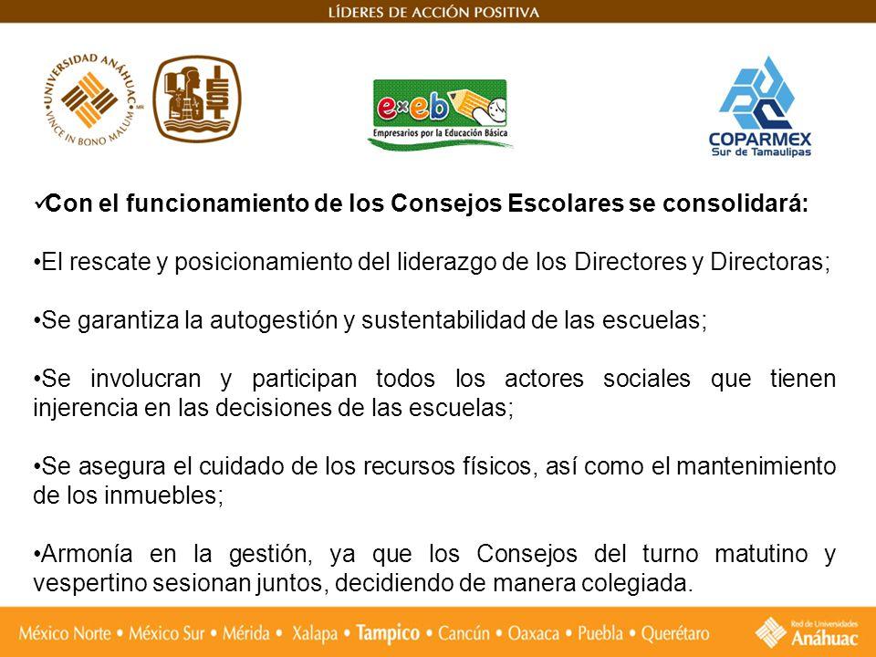 Con el funcionamiento de los Consejos Escolares se consolidará: El rescate y posicionamiento del liderazgo de los Directores y Directoras; Se garantiz