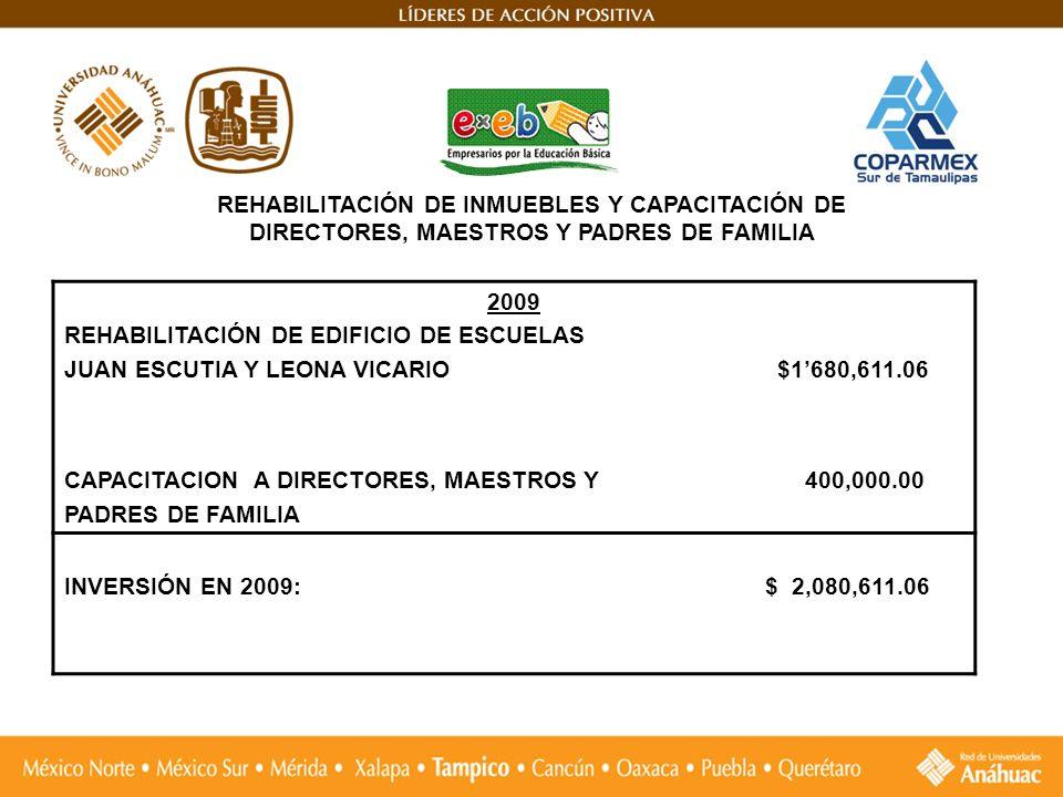 REHABILITACIÓN DE INMUEBLES Y CAPACITACIÓN DE DIRECTORES, MAESTROS Y PADRES DE FAMILIA 2009 REHABILITACIÓN DE EDIFICIO DE ESCUELAS JUAN ESCUTIA Y LEON