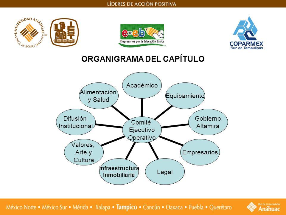 ORGANIGRAMA DEL CAPÍTULO Comité Ejecutivo Operativo AcadémicoEquipamiento Gobierno Altamira EmpresariosLegal Infraestructura Inmobiliaria Valores, Art
