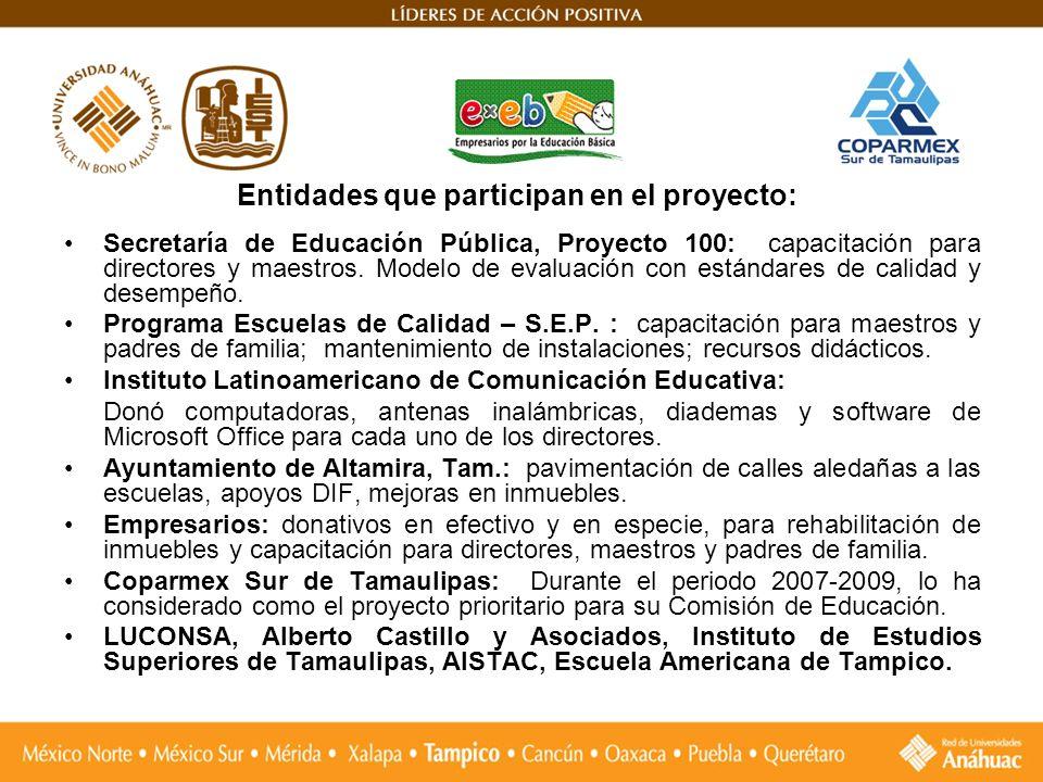 Entidades que participan en el proyecto: Secretaría de Educación Pública, Proyecto 100: capacitación para directores y maestros. Modelo de evaluación