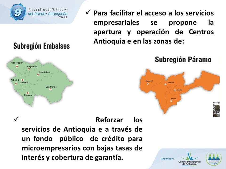 Reforzar los servicios de Antioquia e a través de un fondo público de crédito para microempresarios con bajas tasas de interés y cobertura de garantía.