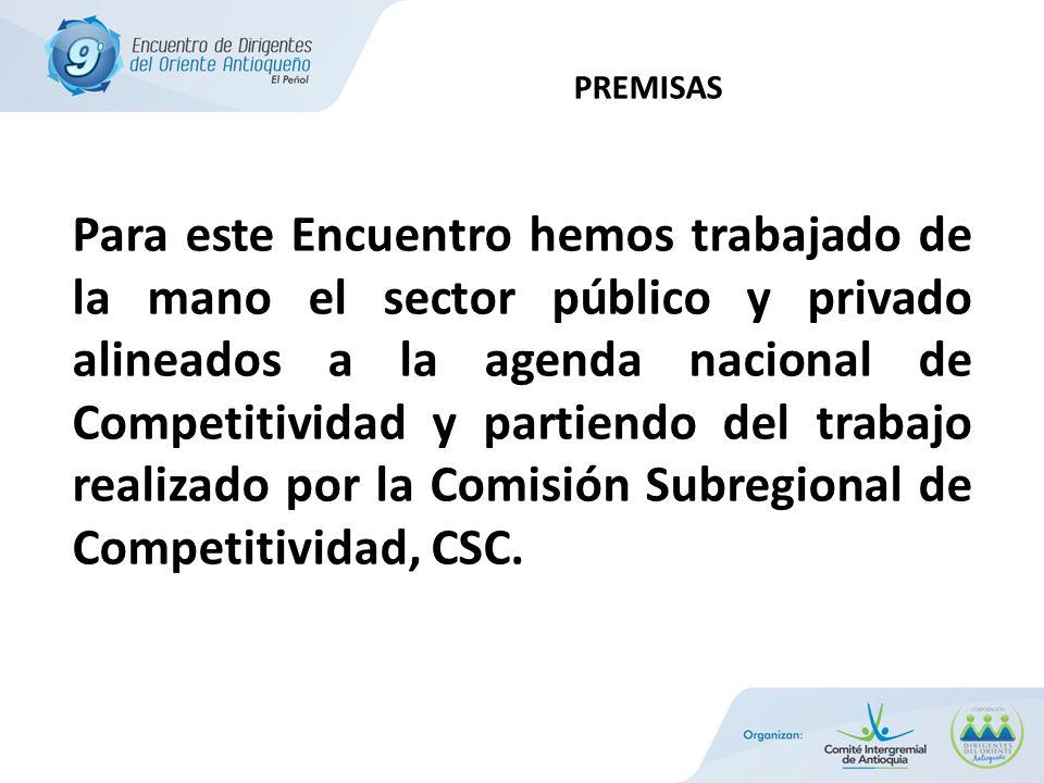 Para este Encuentro hemos trabajado de la mano el sector público y privado alineados a la agenda nacional de Competitividad y partiendo del trabajo realizado por la Comisión Subregional de Competitividad, CSC.
