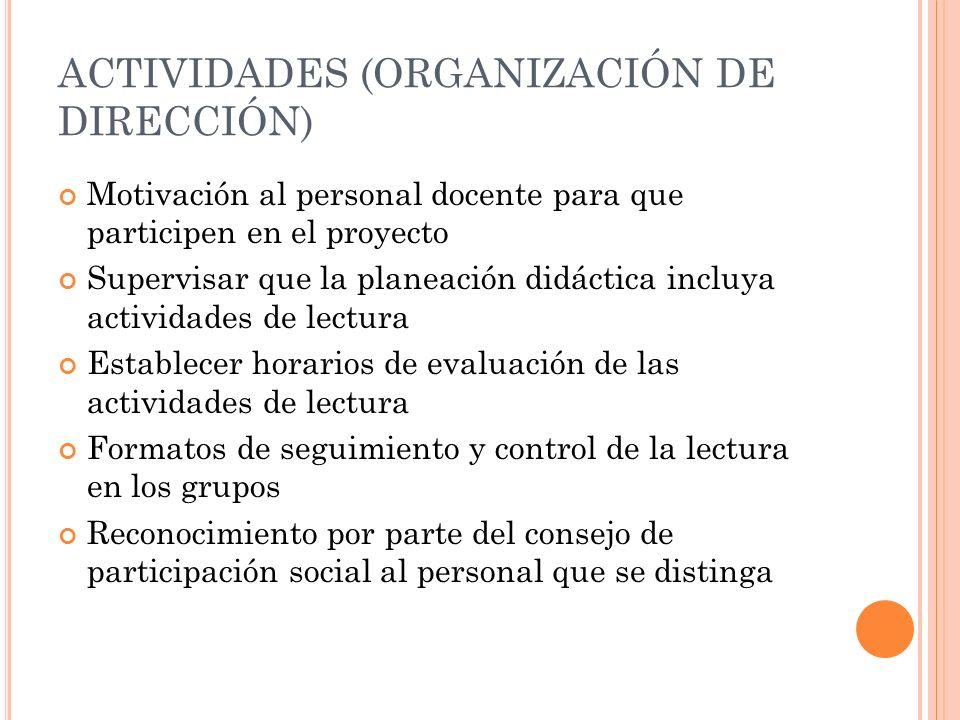 ACTIVIDADES (ORGANIZACIÓN DE DIRECCIÓN) Motivación al personal docente para que participen en el proyecto Supervisar que la planeación didáctica inclu