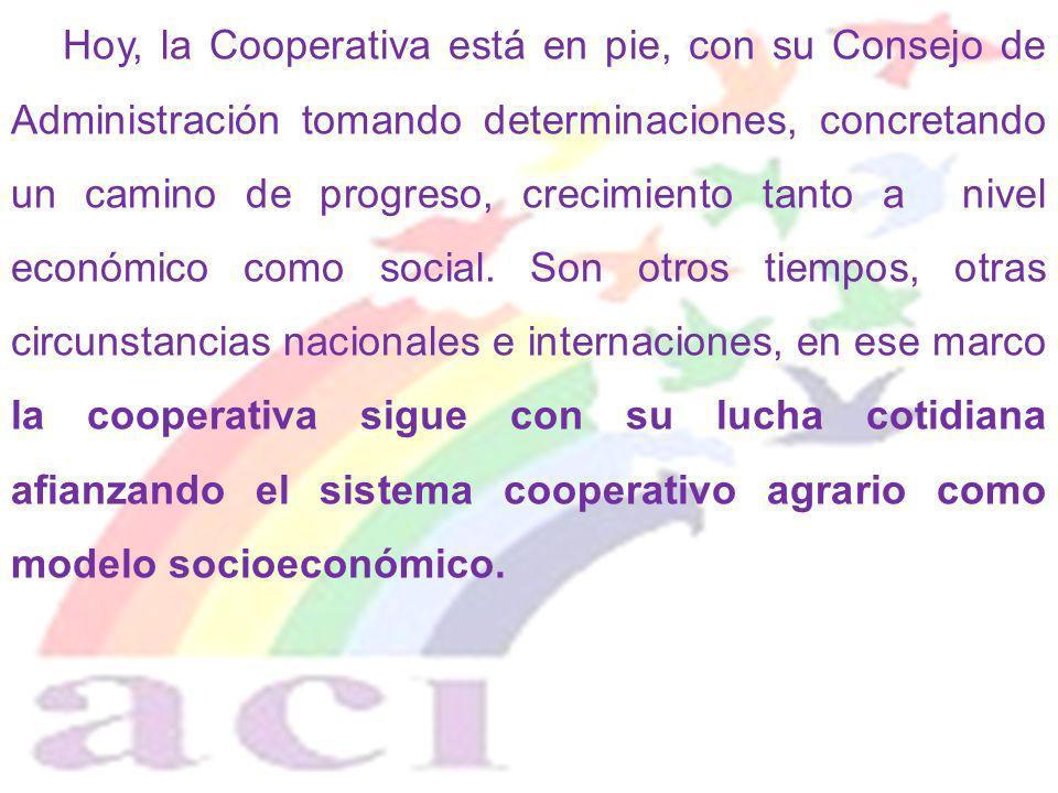 Hoy, la Cooperativa está en pie, con su Consejo de Administración tomando determinaciones, concretando un camino de progreso, crecimiento tanto a nive