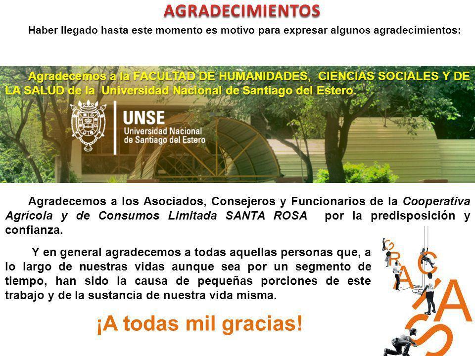 Agradecemos a la FACULTAD DE HUMANIDADES, CIENCIAS SOCIALES Y DE LA SALUD de la Universidad Nacional de Santiago del Estero. Agradecemos a los Asociad