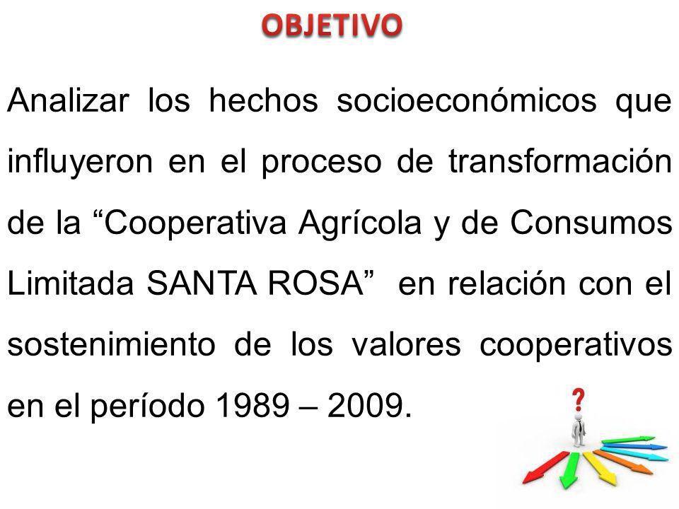 Analizar los hechos socioeconómicos que influyeron en el proceso de transformación de la Cooperativa Agrícola y de Consumos Limitada SANTA ROSA en relación con el sostenimiento de los valores cooperativos en el período 1989 – 2009.