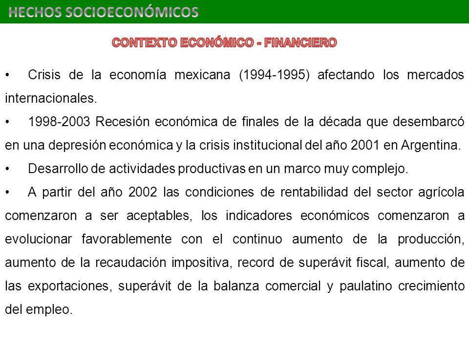 Crisis de la economía mexicana (1994-1995) afectando los mercados internacionales. 1998-2003 Recesión económica de finales de la década que desembarcó