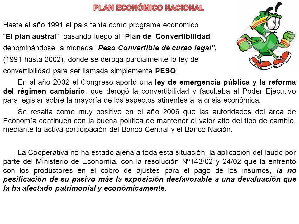 Hasta el año 1991 el país tenía como programa económico El plan austral pasando luego al Plan de Convertibilidad denominándose la moneda Peso Converti