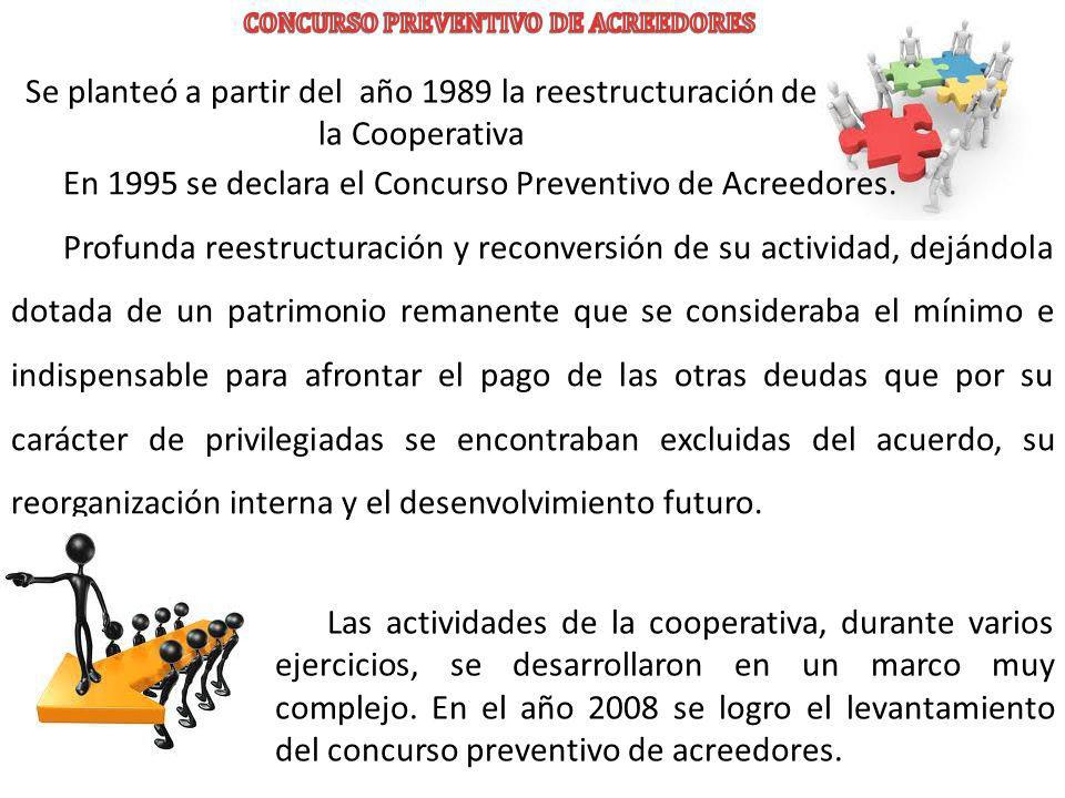 Se planteó a partir del año 1989 la reestructuración de la Cooperativa En 1995 se declara el Concurso Preventivo de Acreedores. Profunda reestructurac