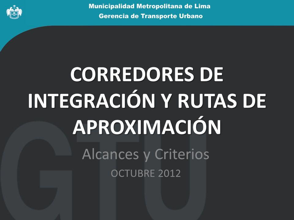 CORREDORES DE INTEGRACIÓN Y RUTAS DE APROXIMACIÓN Alcances y Criterios OCTUBRE 2012