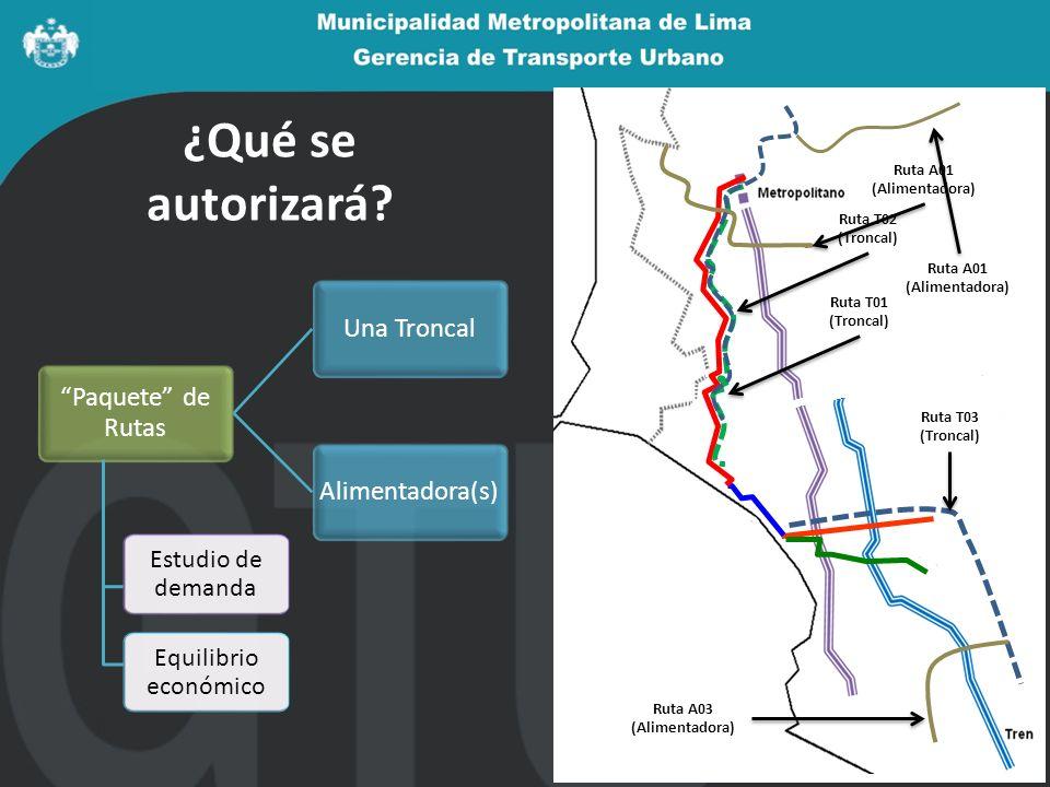¿Qué se autorizará? Paquete de Rutas Una TroncalAlimentadora(s) Estudio de demanda Equilibrio económico Ruta T01 (Troncal) Ruta A01 (Alimentadora) Rut