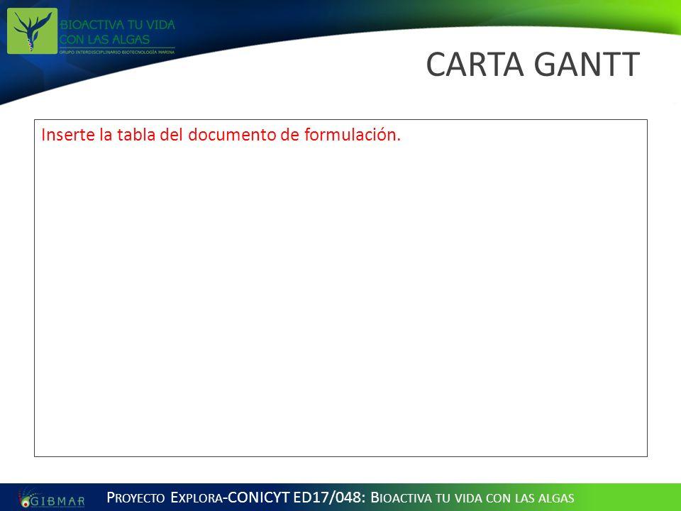 CARTA GANTT Inserte la tabla del documento de formulación.