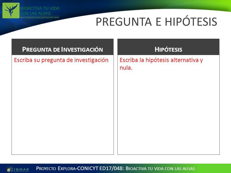 PREGUNTA E HIPÓTESIS P REGUNTA DE I NVESTIGACIÓN Escriba su pregunta de investigación H IPÓTESIS Escriba la hipótesis alternativa y nula.