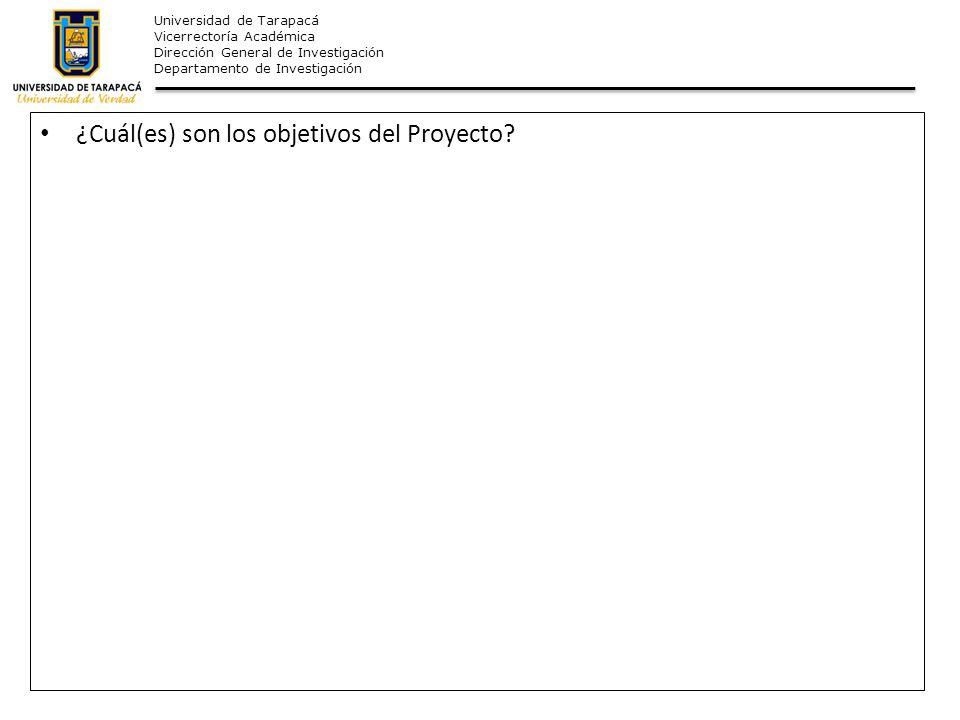 Universidad de Tarapacá Vicerrectoría Académica Dirección General de Investigación Departamento de Investigación ¿Cuál(es) son los objetivos del Proye