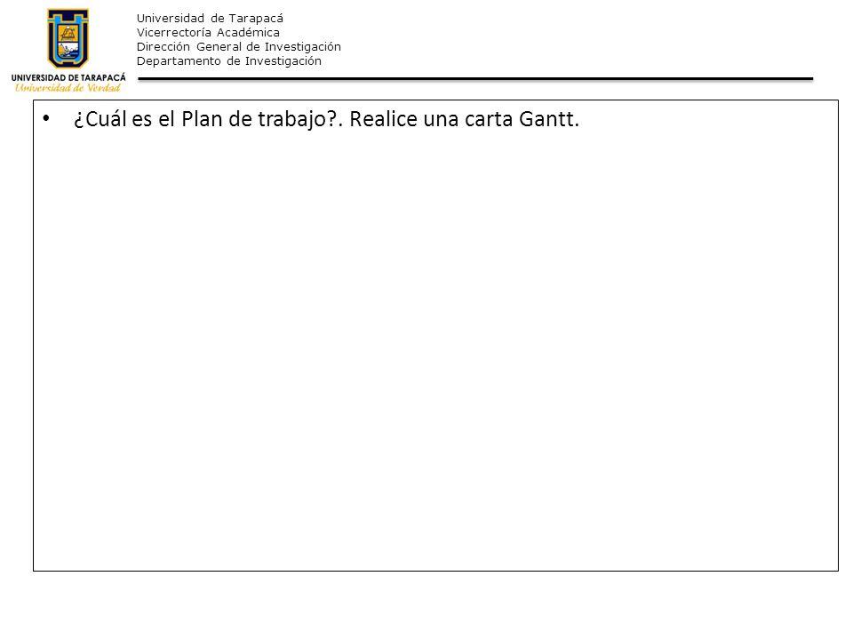 Universidad de Tarapacá Vicerrectoría Académica Dirección General de Investigación Departamento de Investigación ¿Cuál es el Plan de trabajo?. Realice