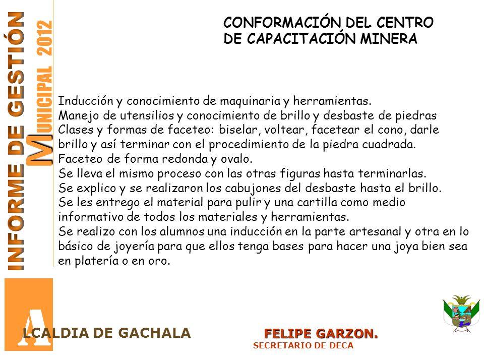 M M UNICIPAL 2012 A FELIPE GARZON. LCALDIA DE GACHALA FELIPE GARZON. SECRETARIO DE DECA CONFORMACIÓN DEL CENTRO DE CAPACITACIÓN MINERA Inducción y con