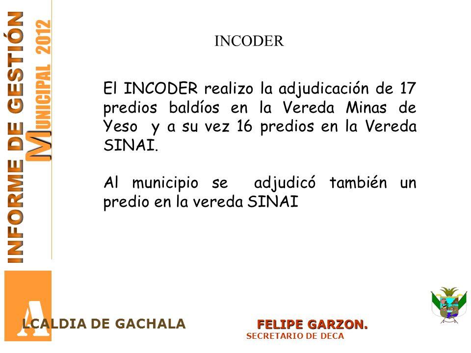 M M UNICIPAL 2012 A FELIPE GARZON. LCALDIA DE GACHALA FELIPE GARZON. SECRETARIO DE DECA INCODER El INCODER realizo la adjudicación de 17 predios baldí