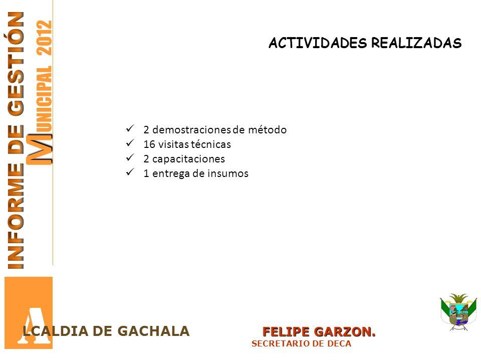 M M UNICIPAL 2012 A FELIPE GARZON. LCALDIA DE GACHALA FELIPE GARZON. SECRETARIO DE DECA ACTIVIDADES REALIZADAS 2 demostraciones de método 16 visitas t