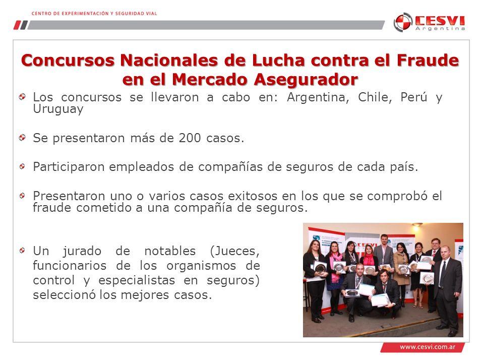 Concursos Nacionales de Lucha contra el Fraude en el Mercado Asegurador Los concursos se llevaron a cabo en: Argentina, Chile, Perú y Uruguay Se presentaron más de 200 casos.