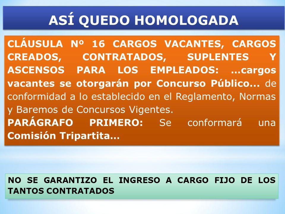 ASÍ QUEDO HOMOLOGADA CLÁUSULA Nº 16 CARGOS VACANTES, CARGOS CREADOS, CONTRATADOS, SUPLENTES Y ASCENSOS PARA LOS EMPLEADOS: …cargos vacantes se otorgar