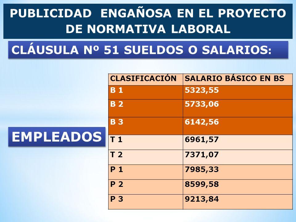 PUBLICIDAD ENGAÑOSA EN EL PROYECTO DE NORMATIVA LABORAL CLASIFICACIÓNSALARIO BÁSICO EN BS B 15323,55 B 25733,06 B 36142,56 T 16961,57 T 27371,07 P 179