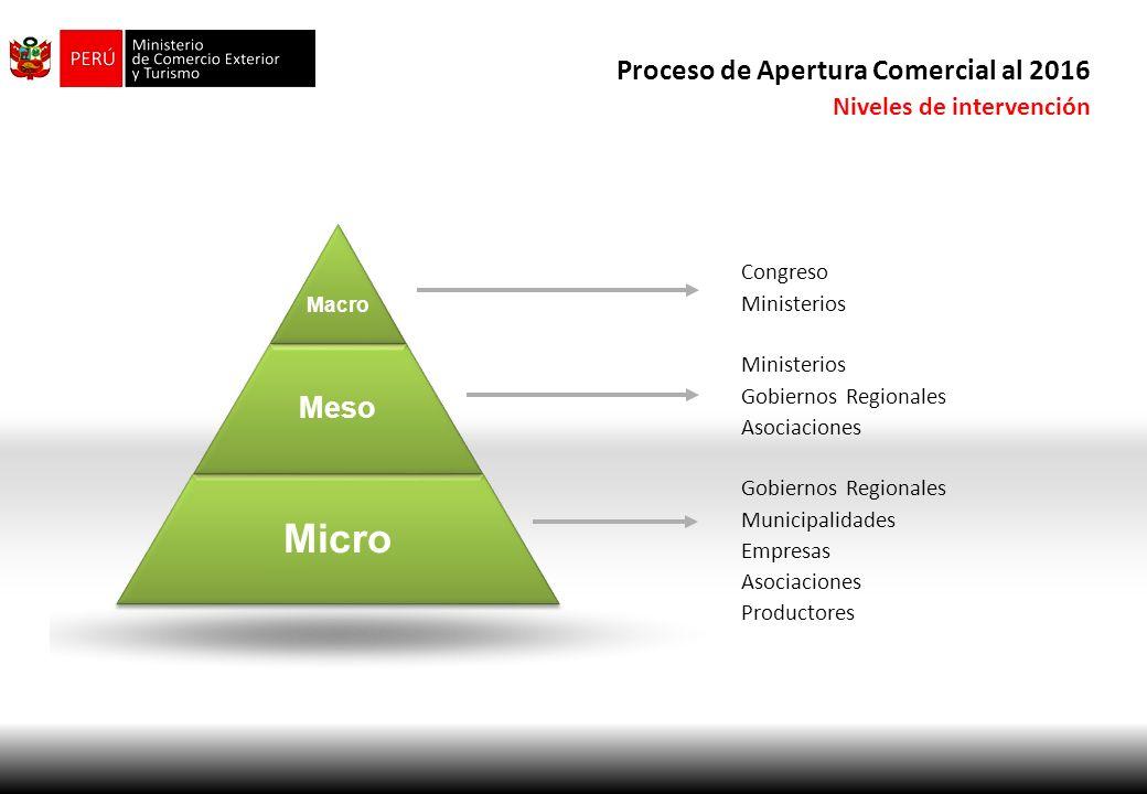 Micro Meso Macro Congreso Ministerios Proceso de Apertura Comercial al 2016 Niveles de intervención Ministerios Gobiernos Regionales Asociaciones Gobi