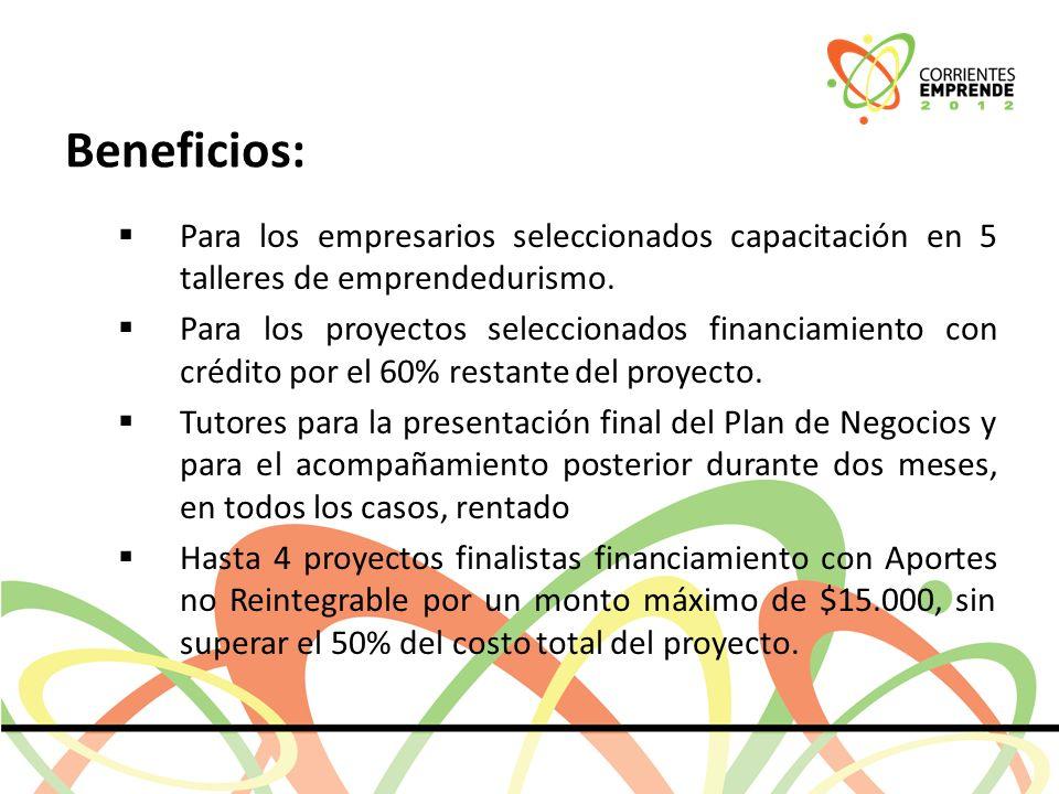 Beneficios: Para los empresarios seleccionados capacitación en 5 talleres de emprendedurismo.