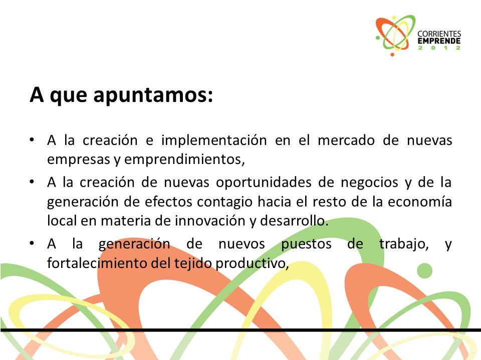 A que apuntamos: A la creación e implementación en el mercado de nuevas empresas y emprendimientos, A la creación de nuevas oportunidades de negocios y de la generación de efectos contagio hacia el resto de la economía local en materia de innovación y desarrollo.