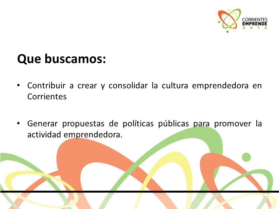 Que buscamos: Contribuir a crear y consolidar la cultura emprendedora en Corrientes Generar propuestas de políticas públicas para promover la actividad emprendedora.